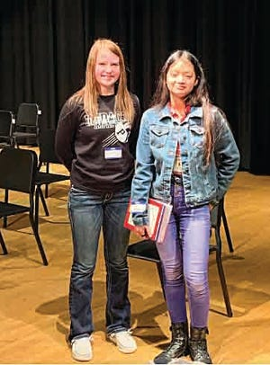 Kory Anschutz (left), Skyline 8th grader took second in the Pratt County 2021 Spelling Bee last week, while Rio Sanchez (right), Liberty Middle School 8th grader won first. Sanchez received a dictionary as a prize and will represent Pratt County at the state spelling bee on March 27 at Newman University in Wichita.