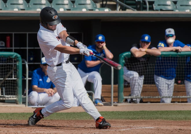 Pacific's Luke Price hits a double during a baseball game against South Dakota State on Feb. 23, 2020, at Klein Family Field in Stockton.