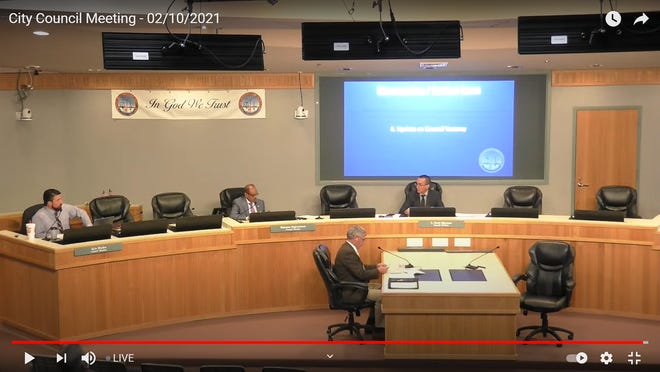 The Ridgecrest City Council discusses filling its vacant seat at a regular meeting Feb. 17, 2021. Mayor Eric Bruen took part in the meeting by phone.