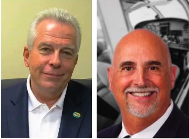 Incumbent Mayor Mike Chamberlain, left, is being challenged by Republican Boone County Board member Jeffery Carlisle in the Republican primary for mayor of Belvidere