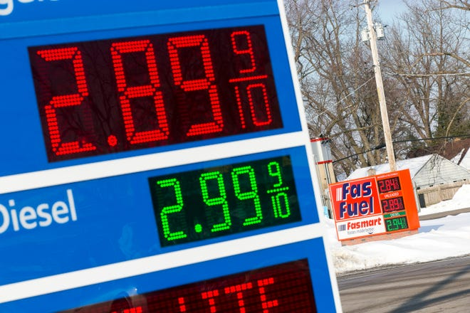 A sign advertises the price of gas at the Mobile gas station, 3338 N. Main Street, on Thursday, Feb. 18, 2021, in Rockford.