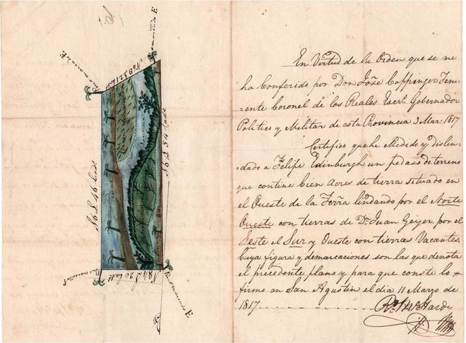 "Survey of Edinburgh's Spanish land grant, ""lying west of the San Sebastian Ferry"" made in 1817."