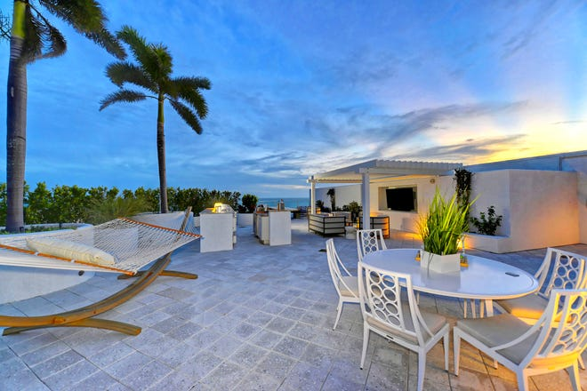 The 7,800-square-foot Longboat Key penthouse is one of 16 condos within the Aria at Longboat Key enclave at 2251 Gulf of Mexico Drive.