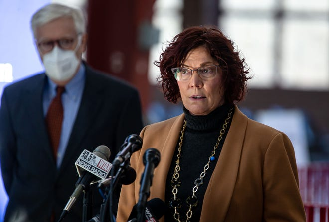 Alicia Tate-Nadeau, director of the Illinois Emergency Management Agency, answers questions during a press conference at the new COVID-19 state-supported mass vaccination site in the Orr Building at the Illinois State Fairgrounds in Springfield on Feb. 18, 2021. [Justin L. Fowler/The State Journal-Register]