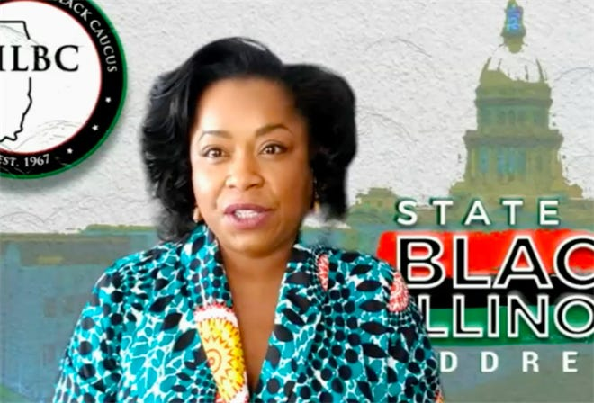 """Illinois Legislative Black Caucus Joint Chair Rep. Sonya Harper, D-Chicago, opens the caucus' """"State of Black Illinois"""" address and response to Gov. JB Pritzker's budget address."""