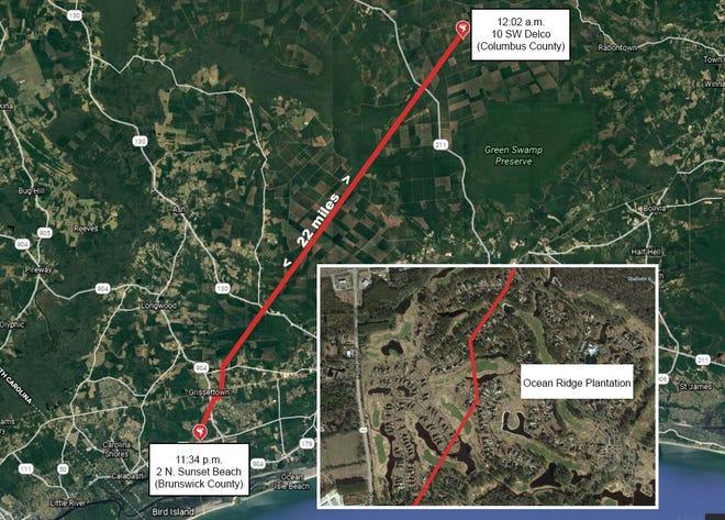 Approximate path of Monday night tornado.