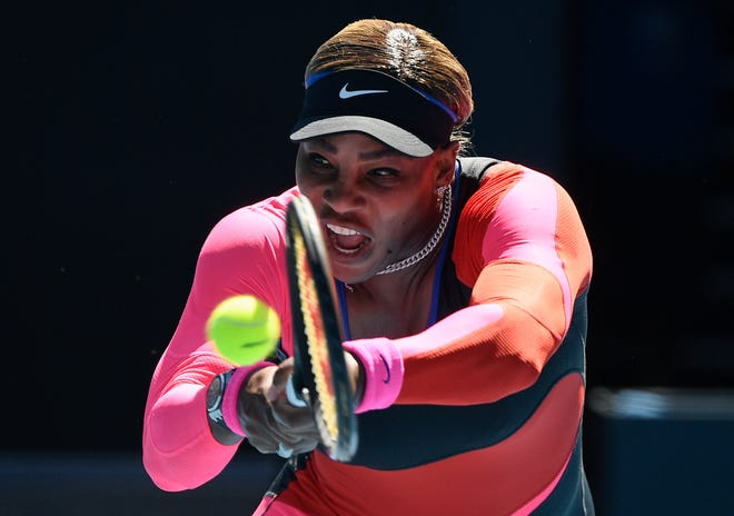 United States' Serena Williams hits a backhand return to Japan's Naomi Osaka during their semifinal match at the Australian Open in Melbourne on Thursday.