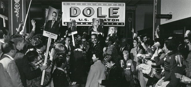 Bob Dole campaigns for the U.S. Senate in November 1968. He ended up representing Kansas in the Senate from 1969 to 1996.