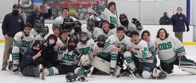 Members of the South Coast Conference champions Dighton-Rehoboth/Seekonk co-op hockey team.