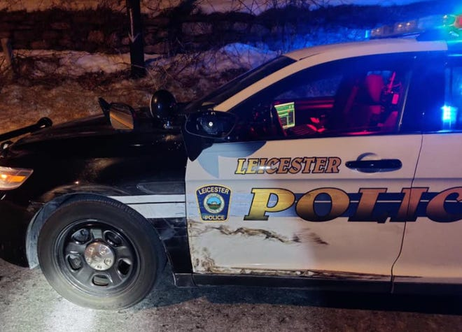 Leicester police posted this photo of the damaged cruiser.