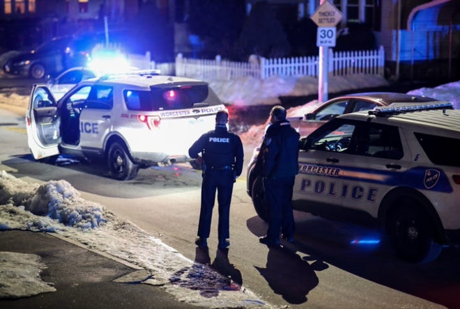 Worcester police on Lovell Street on Wednesday night.