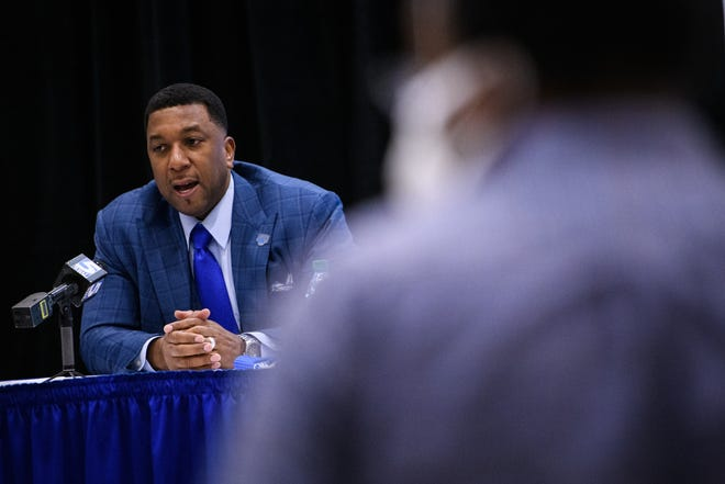 The new Fayetteville State University chancellor Darrell Allison answers questions from the media during a press conference at Fayetteville State University on Thursday, Feb. 18, 2021.