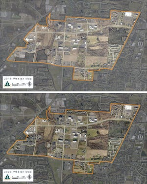 These two aerial maps of Westerville's Westar development area – the top shown in 2018 and the bottom in 2020 – show improvements in infrastructure as development occurs.