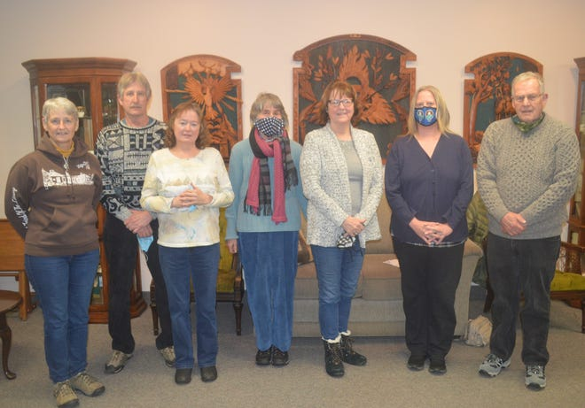 The 2021 officers and trustees for the Thelma Rogers Genealogical and Historical Society are, from left, trustees Jackie Comstock and David Sick, treasurer Marsha Sick, trustee Angela Glickstein, vice president Ann Comstock, president Carrie Jefferds, and Secretary Alan Forsberg.