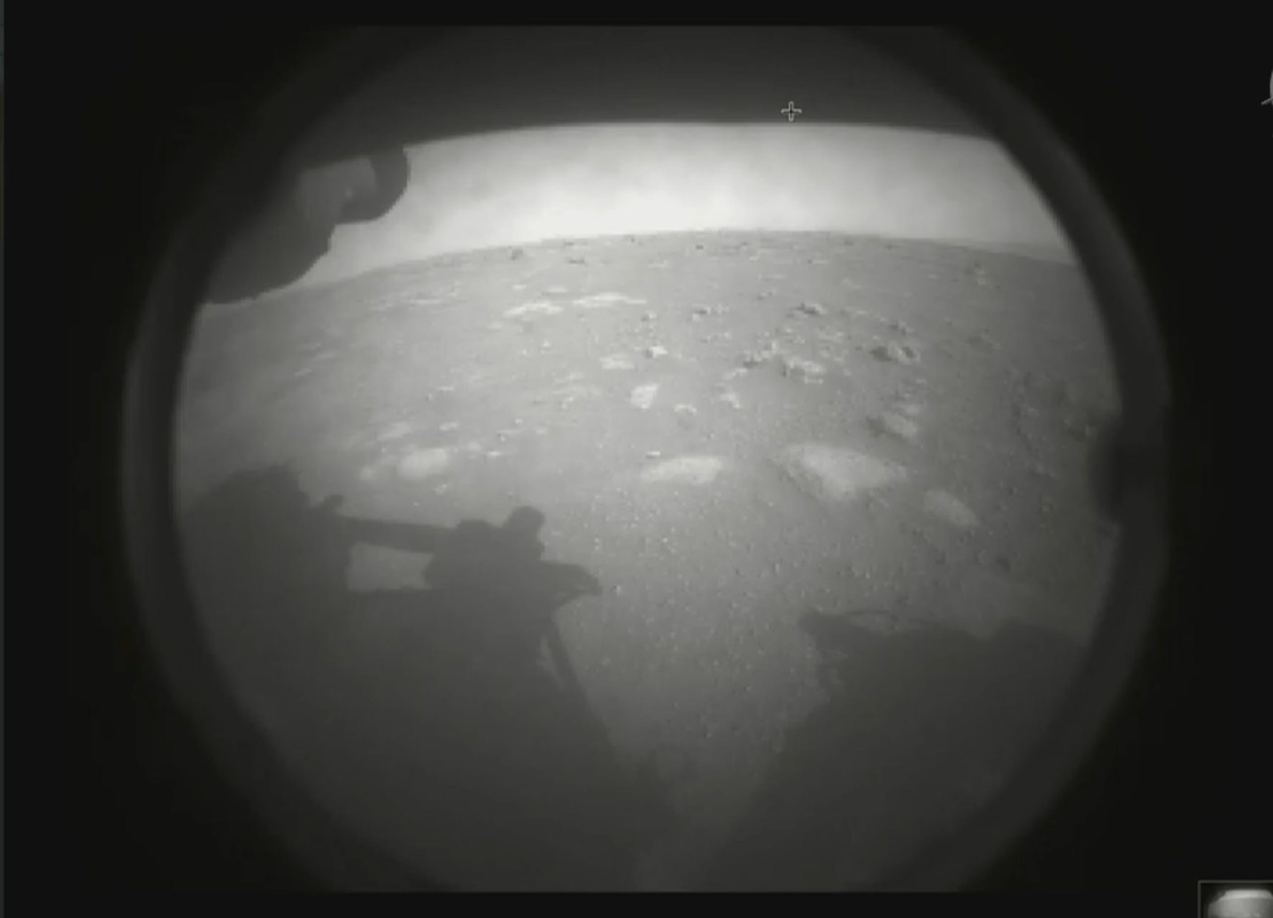 The first image captured by NASA's Perseverance rover of the surface of Mars after its successful landing on Thursday, Feb. 18, 2021.