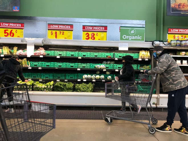 Dairy products and fresh produce were in lean supply at H-E-B Plus! on Thursday, Feb. 18, 2021. The grocery store imposed purchase limits on several items as the region struggled to recover from cold weather than knocked out power earlier in the week to millions across Texas.