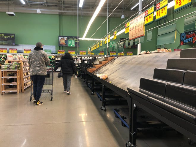 Shoppers at H-E-B Plus! in Flour Bluff were met with empty shelves on Thursday, Feb. 18, 2021. The grocery store imposed purchase limits on several items as the region struggled to recover from cold weather than knocked out power earlier in the week to millions across Texas.