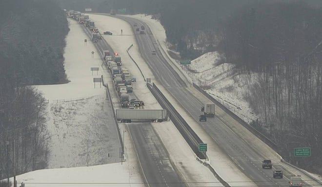 I-71 south is closed at the Jeremiah Morrow Bridge on Thursday morning