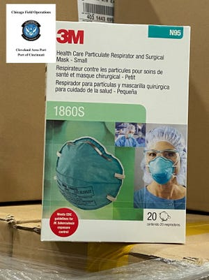 U.S. Customs and Border Protection officers in Cincinnati say they have seized 450 boxes of counterfeit 3M surgical masks.