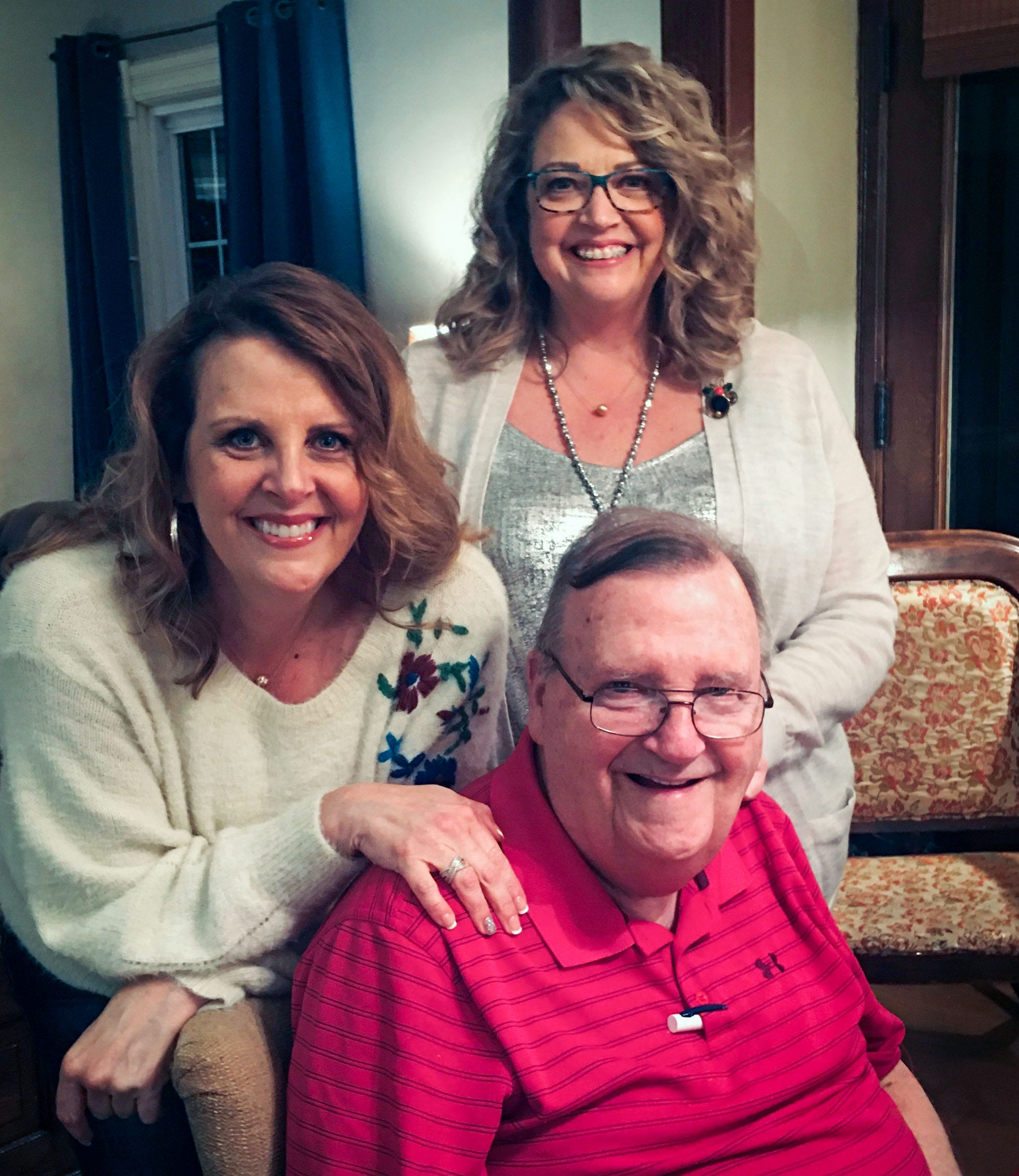 A family photo of Lou Luiken with his daughters, Jennifer Luiken and Suzanne Winkelpleck, taken on Christmas Eve 2019.
