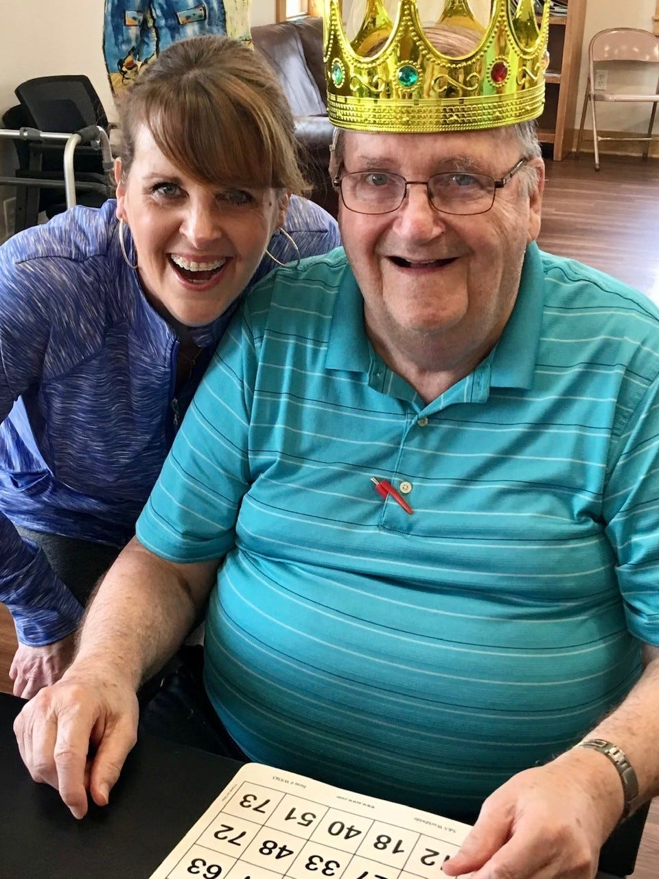 Jennifer Luiken with her father, Lou Luiken, after a Bingo sweep at his care center.