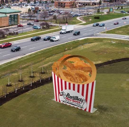 "Portillo's, the famous Chicago-based eatery,  will be renaming the Sterling Height's landmark from ""The Halo"" to ""Portillo's Golden Onion Ring"" for one day in honor of the brand's newest location at 14425 Lakeside Circle."