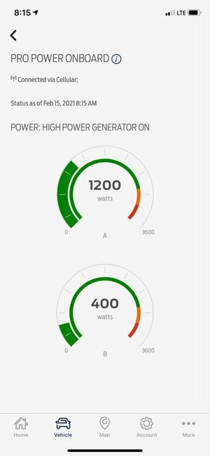 Dan Basile, a cybersecurity analyst, used his 2021 F-150 to power his home in Bryan, Texas during blackouts between February 14-17. This shows his vehicle screen as he uses the onboard generator.