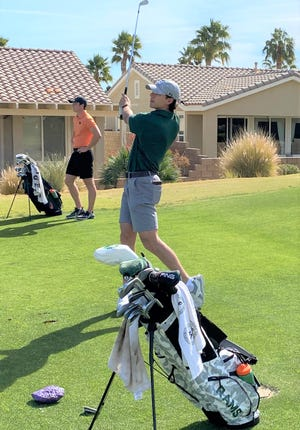 Colorado State golfer A.J. Ott watches his shot during The Prestige Individual Invitational golf tournament Feb. 15-17 at Coral Mountain Golf Club in La Quinta, Calif. Ott won the title in a playoff after shooting a 12-under 204 total.