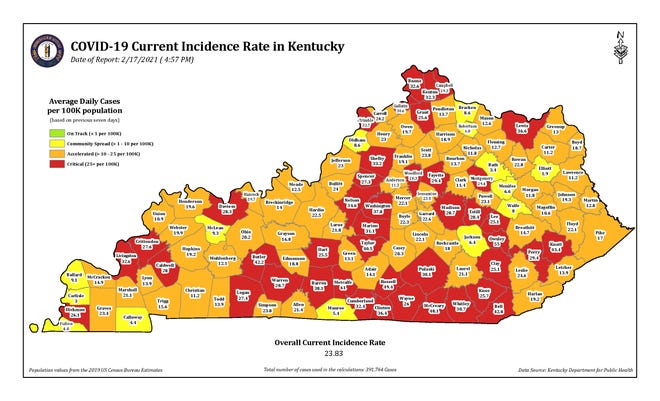 The COVID-19 current incidence rate map for Kentucky as of Wednesday, Feb. 17.