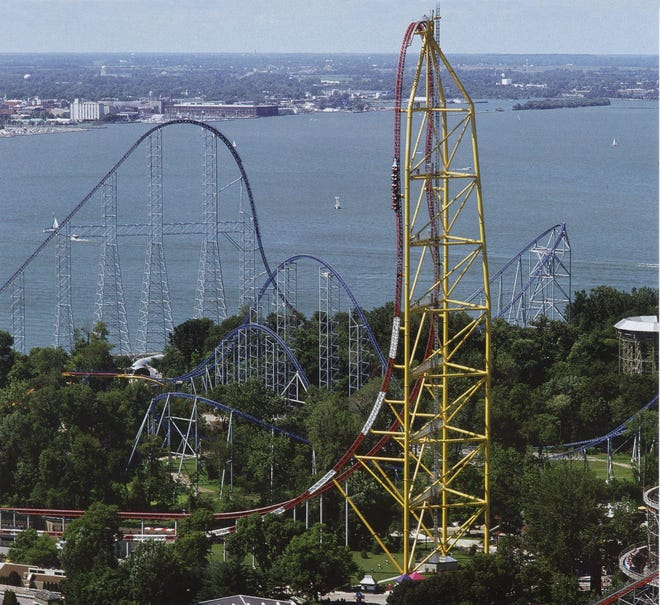 A Cedar Point guest was injured Sunday when she was struck by a piece of metal that fell from the Top Thrill Dragster roller coaster.
