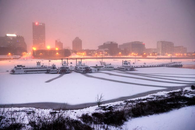 Downtown Memphis, Tenn. under heavy snowfall and below freezing temperatures on Wednesday, Feb. 17, 2021.