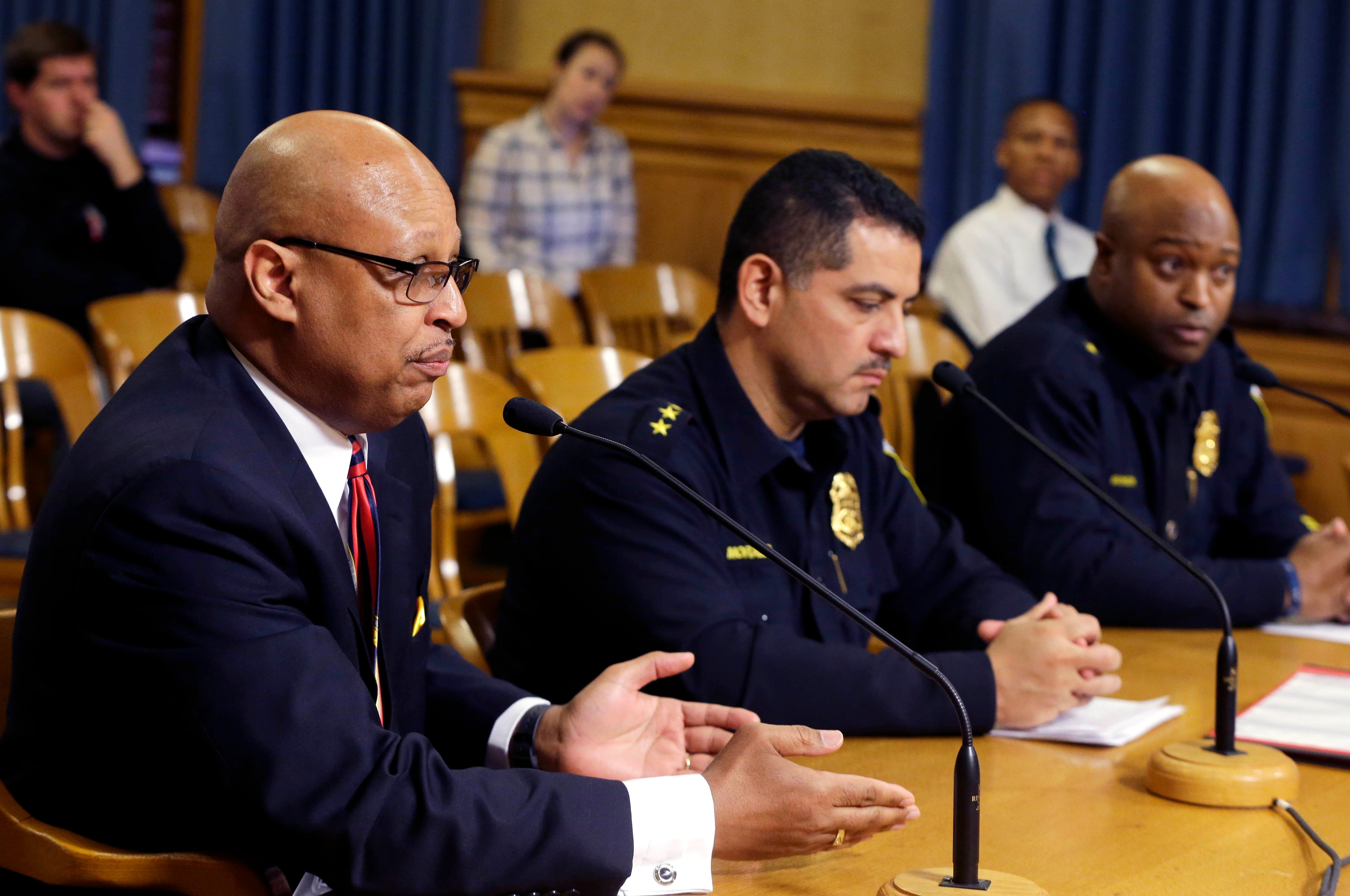 Milwaukee Police Chief Alfonso Morales, center, speaks to a Common Council committee in 2018. Assistant chiefs Raymond Banks, left, and Michael Brunson, right, look on.