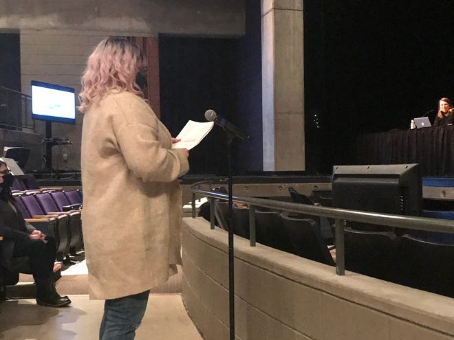 Cedarburg School District parent Jessica Mchomvu speaks to the Cedarburg School Board Feb. 17.