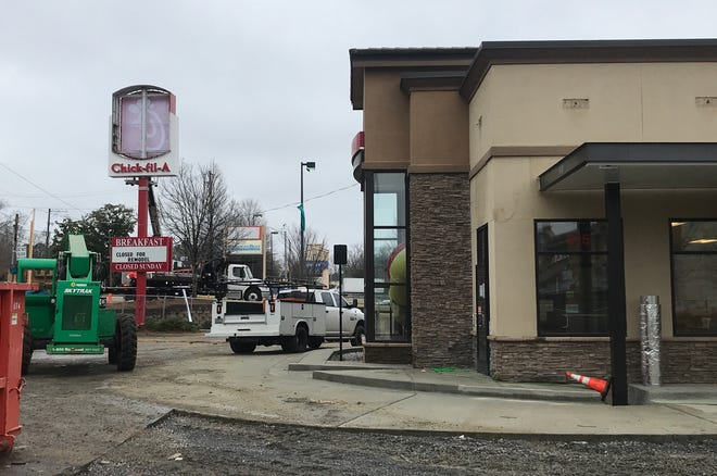 Work continues Thursday on a $1.5 million remodel and expansion of Chick-fil-A on Ann Street in Montgomery.