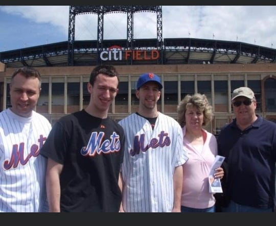 Sons Kevin, Steve, and Scott, with Ruthanne and husband Hal at the then newly opened Citifield.