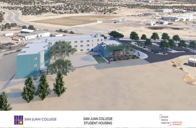 An architectural rendering of the planned on-campus student housing facility at San Juan College is featured. A viretual groundbreaking ceremony for the facility takes place at 2 p.m. Feb. 19.
