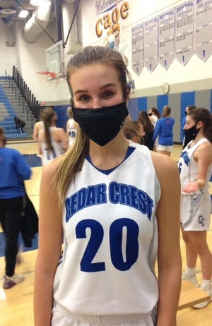 Cedar Crest senior Reese Glover poured in a team-high 18 points to lift the Falcons past Lebanon on Wednesday night.