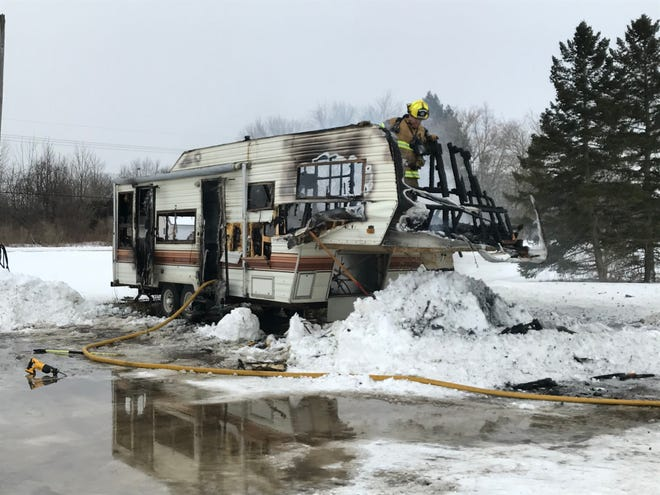 Crews responded to a fully engulfed trailer fire Thursday afternoon, Feb. 18, 2021, on Keewahdin Road.