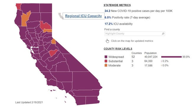 Interactive state map showing rates of positive COVID-19 tests on Feb. 17, 2021.