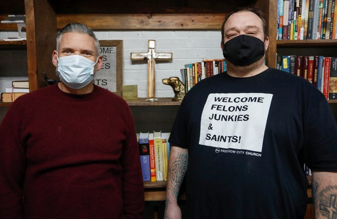 Markus Owens, right, Hailey Owens' father, and John Alarid, pastor of Freedom City Church, stand for a portrait in Alarid's office on Thursday, Feb. 18, 2021.