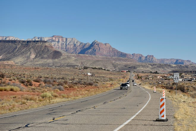 A February 2021 photo of State Route 9 looking towards Zion National Park, just outside the town of Virgin.