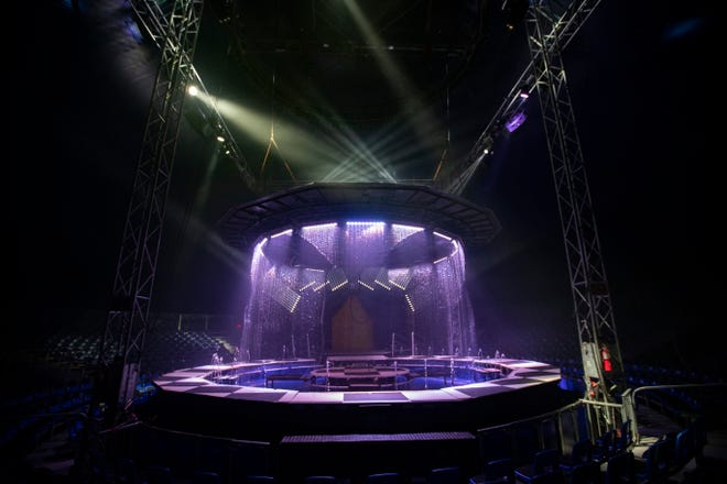 The stage for Cirque Italia's Water Circus is lifted to expose the water curtain used with some of the acts in the performance.