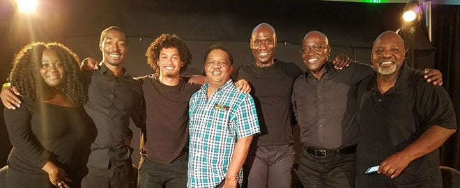 """Ashley Williams, Tevin Ellis, Hassan Ashi Jr., Anthony, Lance Reddick, Kevin Bronson, and Keith Franklin - the cast and crew of """"Calming the Man"""" at the 4th Annual Leimert Park / Vision Theatre Reading Festival in Los Angeles in September 2017."""
