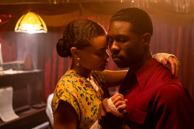 "Billie (Andra Day) falls for Jimmy Fletcher (Trevante Rhodes), an undercover federal agent assigned to infiltrate the jazz singer's inner circle, in ""The United States vs. Billie Holiday."""