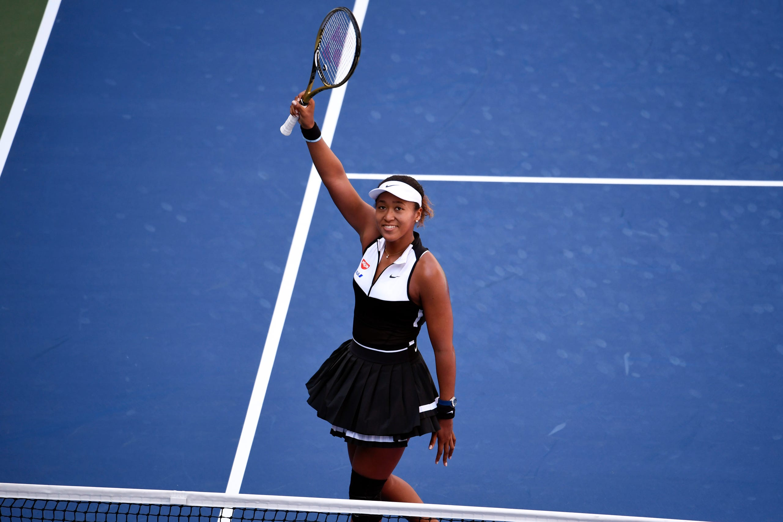 Naomi Osaka reacts after defeating Magda Linette of Poland in the second round on day four of the 2019 U.S. Open tennis tournament at USTA Billie Jean King National Tennis Center on August 29, 2019.