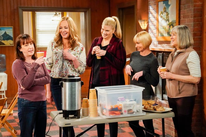 "Beth Hall, left, Allison Janney, Kristen Johnston, Jaime Pressly and Mimi Kennedy play bickering but loving friends on CBS comedy ""Mom,"" which ends its eight-season run on May 6."