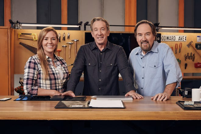 """YouTube star and woodworking DIY expert April Wilkerson, left, stars with Tim Allen and Richard Karn in the new History Channel competition series, """"Assembly Required."""""""