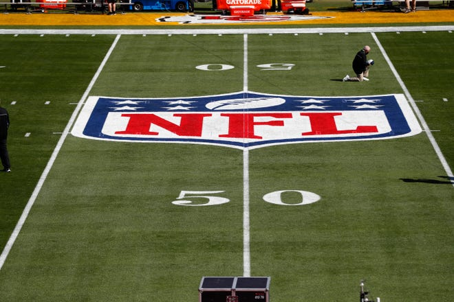 General view of the NFL logo on the field before Super Bowl 55.