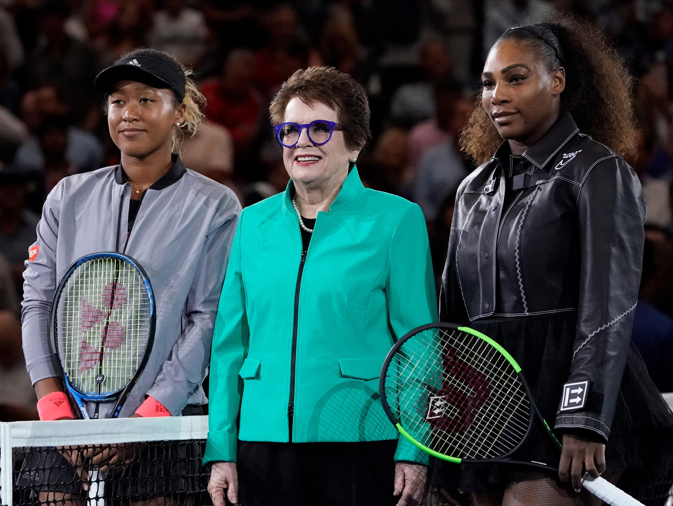Naomi Osaka, Billy Jean King, and Serena Williams before the women's final on day thirteen of the 2018 U.S. Open tennis tournament at USTA Billie Jean King National Tennis Center on Sept. 8, 2018.