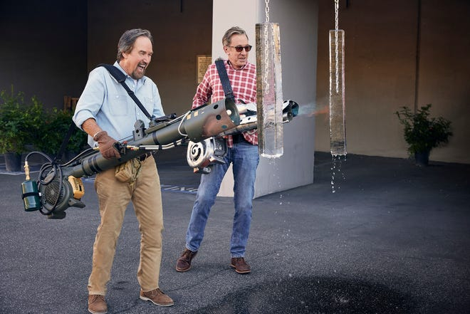 "Richard Karn, left, and Tim Allen test contestant creations in History Channel's ""Assembly Required."""